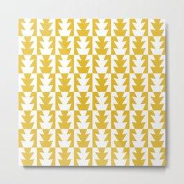 Art Deco Jagged Edge Pattern Mustard Yellow Metal Print