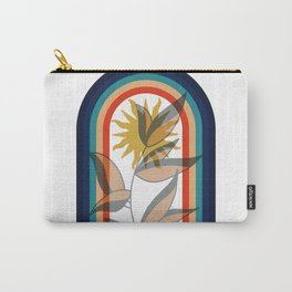 Abstract contemporary aesthetic poster with sun plant and geometric retro 70s rainbow boho wall art Carry-All Pouch