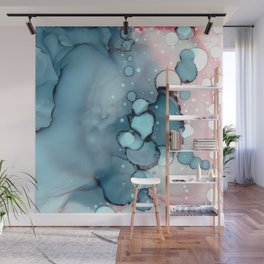 Becoming Abstract Painting Pink Blue Wall Mural