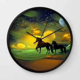 Awakening, Mysterious mixed media art with horses Wall Clock