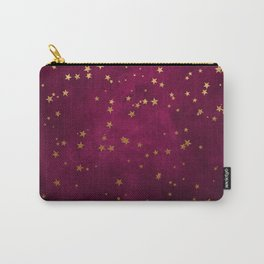 Fuchsia Gold Stars Carry-All Pouch