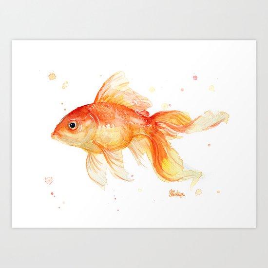 Goldfish Watercolor Fish Art Print