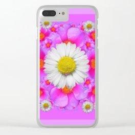 Lilac Fuchsia Rose Bouquet Garden Shasta Daisies Art Clear iPhone Case
