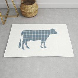 Cow: Neutral Blue Plaid Rug