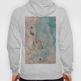 Fluid Art Acrylic Painting, Pour 17, Pastel Pink, Blue, Gray & White Blended Color Hoody