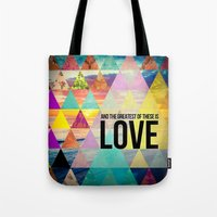 "pocketfuel Tote Bags featuring 1 Corinthians 13:13 ""And the greatest of these is Love"" by Pocket Fuel"