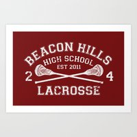 lacrosse Art Prints featuring Beacon Hills Lacrosse by Dorothy Leigh