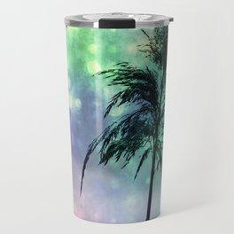 Grass Collage Purple & Green Lights Travel Mug