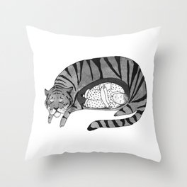 Big Cat Nap  Throw Pillow