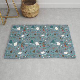 Blue Science and Math Icons Rug