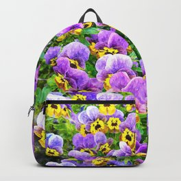 Purple and yellow pansy field Backpack