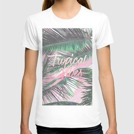 Tropical Vibes Typography Pink Watercolor Palms T-shirt