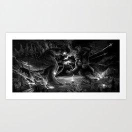 Godzilla vs Kingkong Art Print