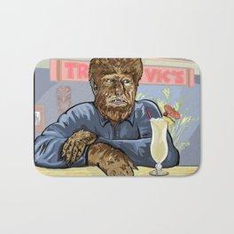 Wolfman drinking a pina colada at Trader Vics. Bath Mat