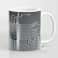 computer Mugs featuring Computer Chip by Robin Curtiss
