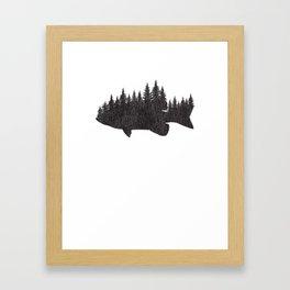 Bass Fishing Forest TShirt - Largemouth Fisherman Gift Framed Art Print