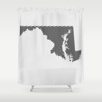 maryland Shower Curtains featuring Maryland State Line by Beastie Toyz