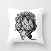red riding hood Throw Pillows featuring Riding Hood by FLORA+FAUNA