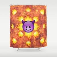 emoji Shower Curtains featuring Devil Emoji by jajoão