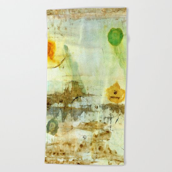 Drifting, Abstract Landscape Art Painting Beach Towel