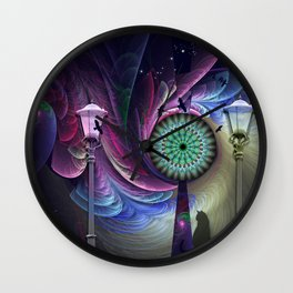 Magical night, mixed-media art Wall Clock