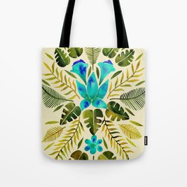 Tropical Symmetry – Turquoise & Olive Palette Tote Bag