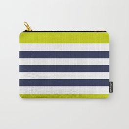 Modern Classy Navy Blue Lime Green STRIPES Carry-All Pouch