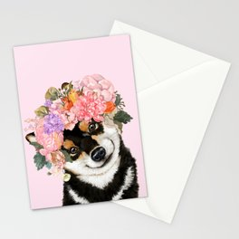 Black Shiba Inu with Flower Crown Pink Stationery Cards