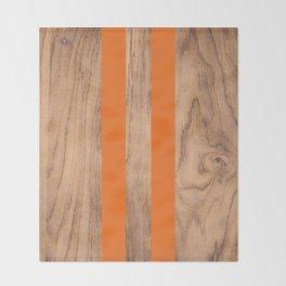Wood Grain Stripes Orange #840 Throw Blanket