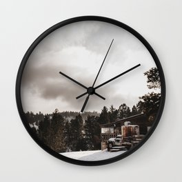Retro Vintage Desaturated Northern Snow Covered Mountain Landscape Colored Print Wall Clock
