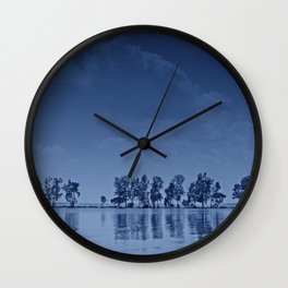 Blue Tree Line Wall Clock