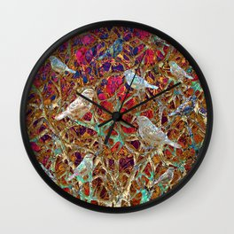 Little Birds and Thorns (Neon) Wall Clock