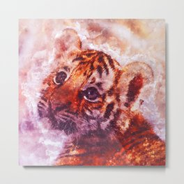 BABY TIGER CUB WATERCOLOR PAINTING Metal Print