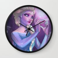 elsa Wall Clocks featuring Elsa by Red Red Telephone