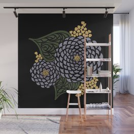 Dark Geometric Flower Wall Mural