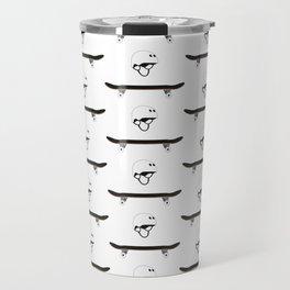 Skateboard and Helmet Pattern Travel Mug