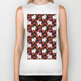 Bichon Frise dogs red rose floral for dog lovers Biker Tank