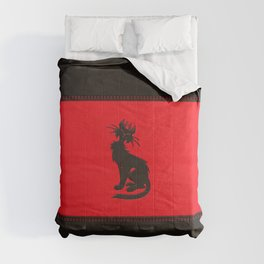 Tribal Black Cat Embossed on Faux Leather Comforters