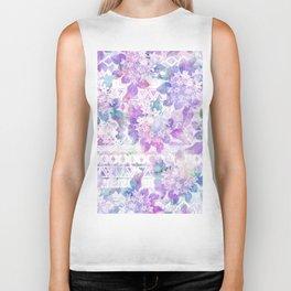 Lavender lilac pink white watercolor aztec floral Biker Tank