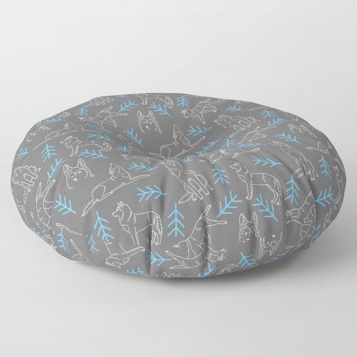 Siberian Husky Pattern Floor Pillow