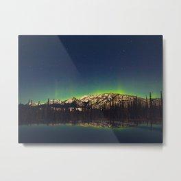 Northern Light Green Aurora Over Dark Arctic Mountains Landscape Metal Print