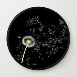 Blowing in the Wind Dandelion, Scanography Wall Clock