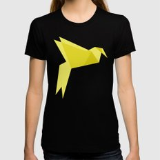 Origami Bird Black MEDIUM Womens Fitted Tee