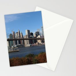 New York City USA Megapolis Brooklyn bridge Skyscrapers Cities megalopolis Bridges Stationery Cards
