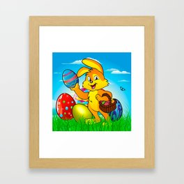 Easter bunny rabbit with Easter basket Framed Art Print