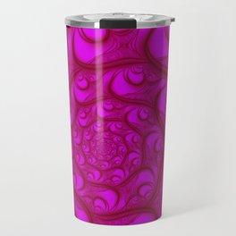 Fractal Web Red on Pink Travel Mug