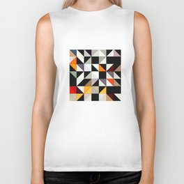 Black and white tile pattern with Red and Orange accents Biker Tank