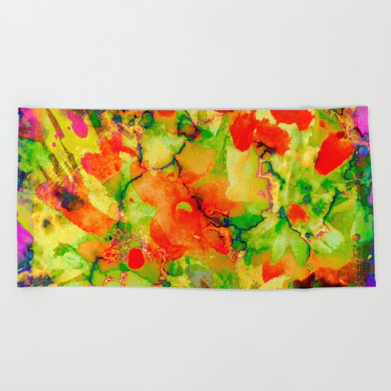 floral and textures Beach Towel