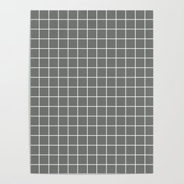 Nickel - grey color - White Lines Grid Pattern Poster