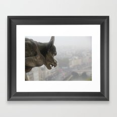 Gargoyle Over Paris Framed Art Print